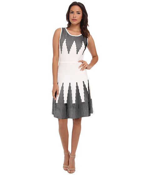 Calvin Klein - Fit Flare Sweater Dress (White/Black) Women's Dress