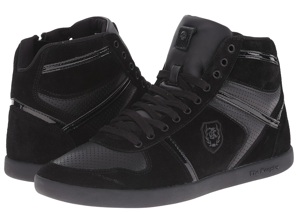 The Kooples - Sport Smooth and Split Leather Sneaker (Black) Men