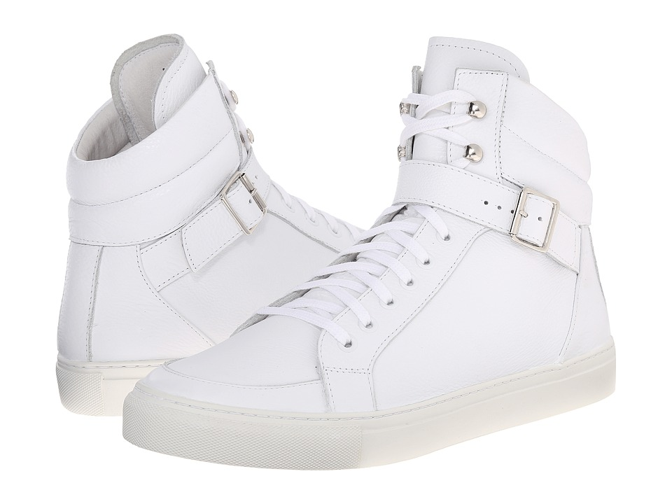 The Kooples - Grained Leather Sneakers (White) Men's Shoes