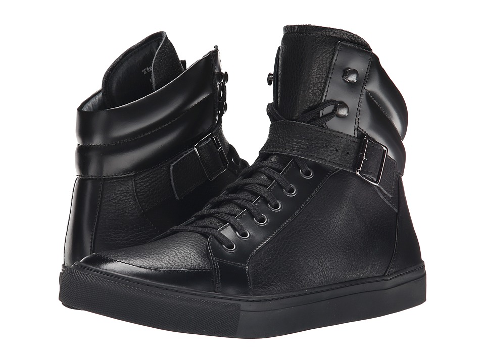 The Kooples - Grained Leather Sneakers (Black) Men's Shoes