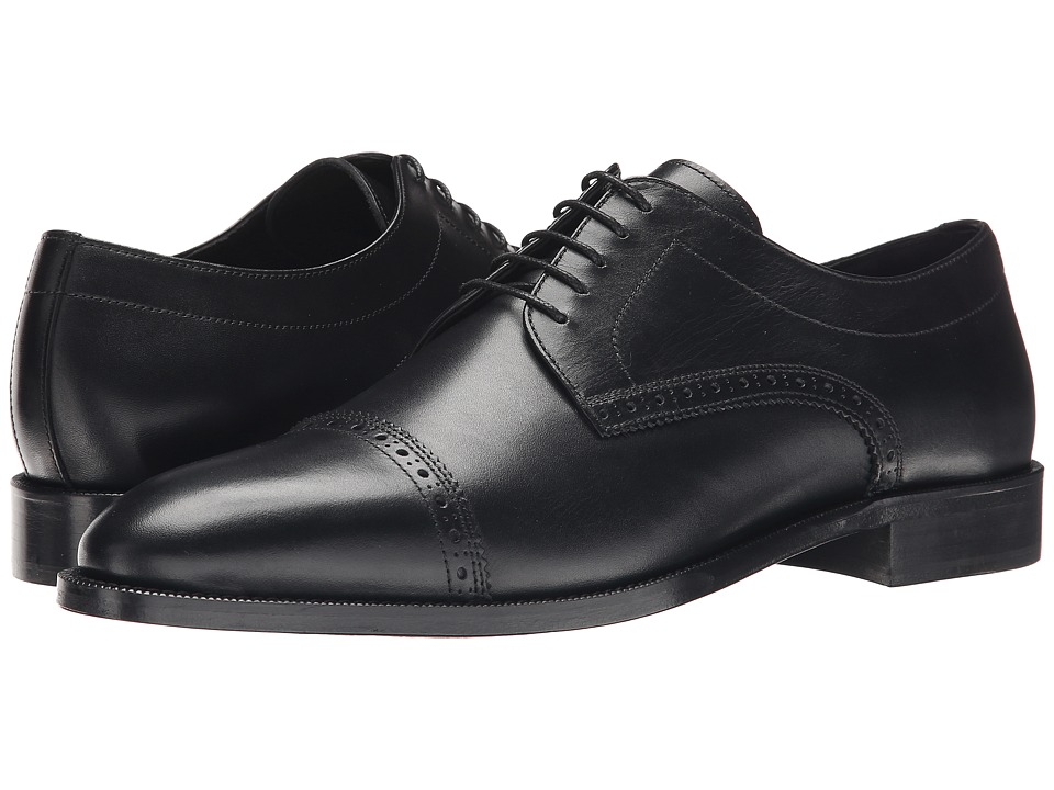 The Kooples - Smooth Leather Cap Toe Oxford (Black) Men's Lace Up Cap Toe Shoes