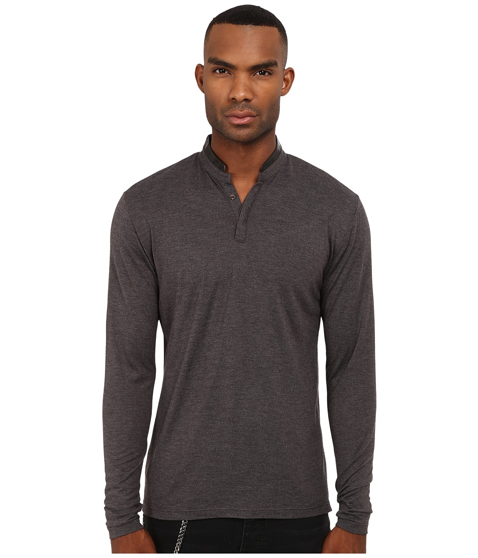 The Kooples - Silk Blend Henley (Grey) Men's T Shirt