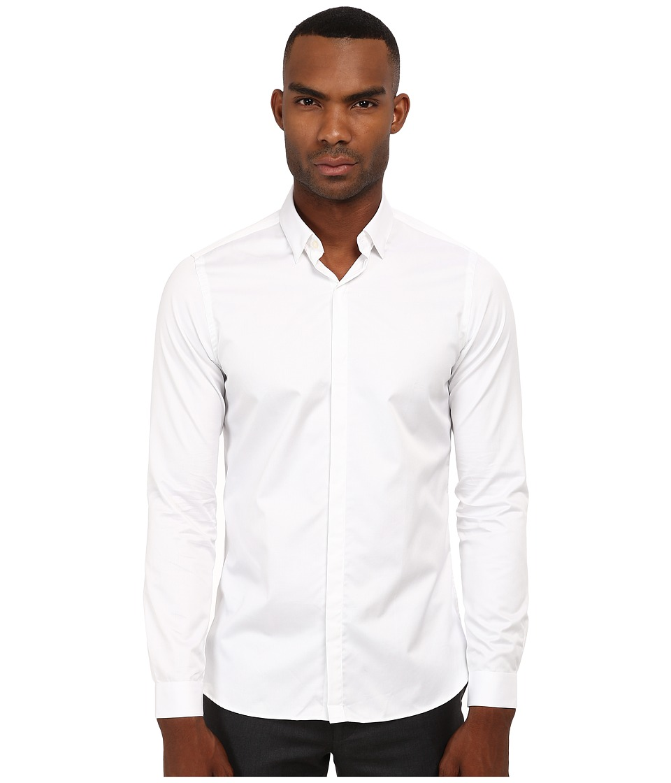 The Kooples - Fitted Smart Twill Button Up (White) Men's Clothing