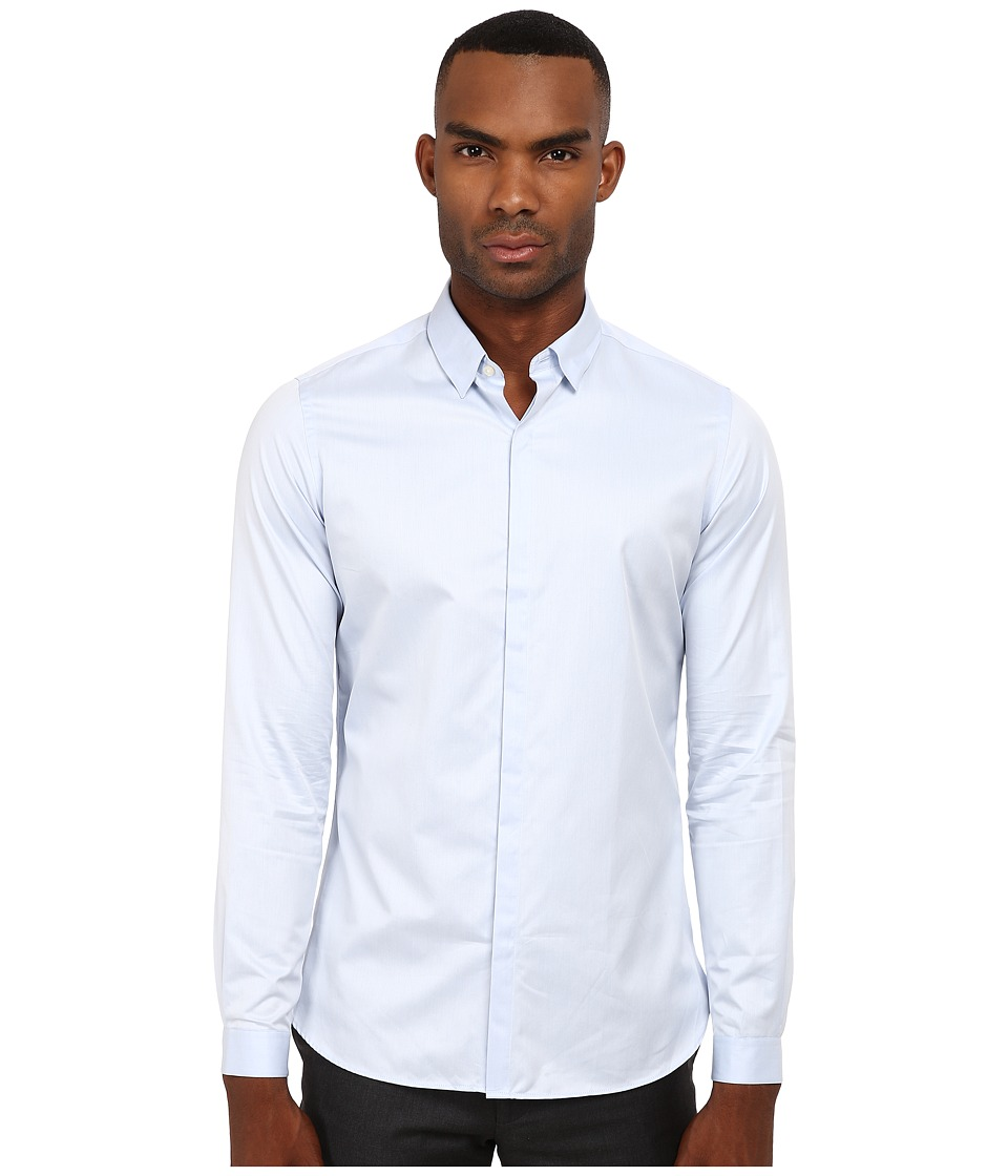 The Kooples - Fitted Smart Twill Button Up (Blue) Men's Clothing