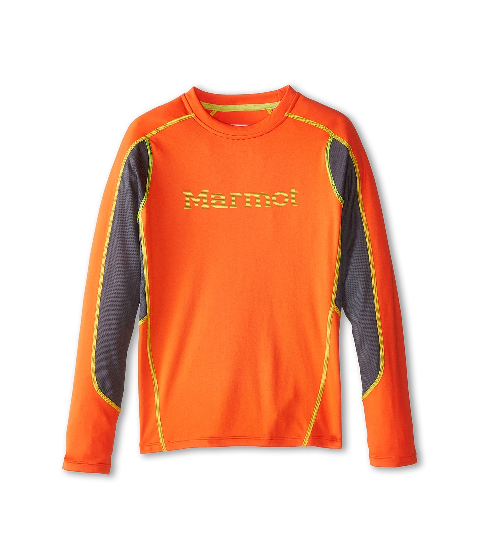 Marmot Kids - Windridge w/ Graphic L/S Top (Little Kids/Big Kids) (Bright Lichen/Dark Zinc) Boy's Long Sleeve Pullover