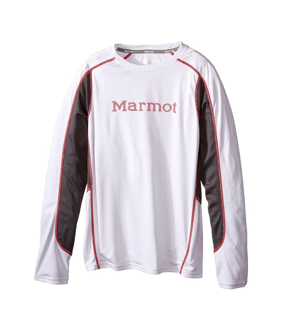 Marmot Kids - Windridge w/ Graphic L/S Top (Little Kids/Big Kids) (White/Cinder) Boy's Long Sleeve Pullover