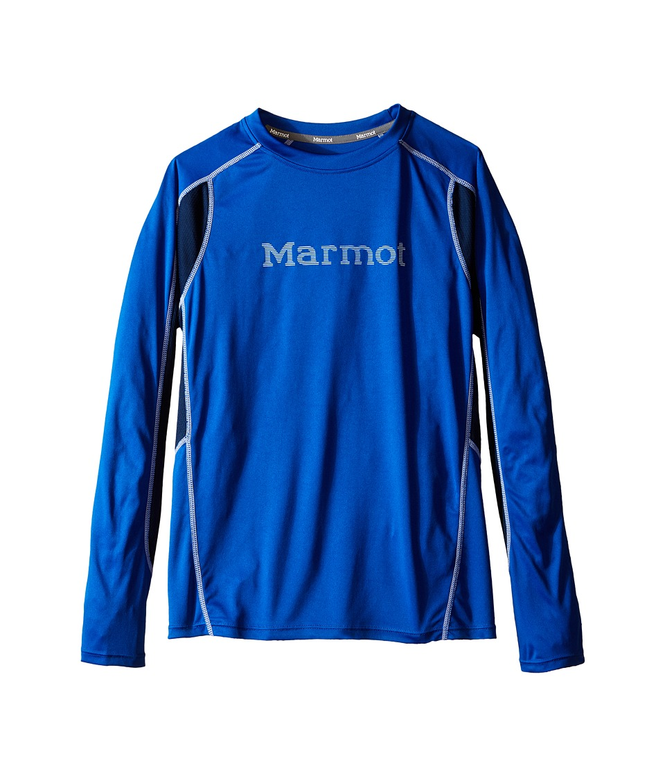 Marmot Kids - Windridge w/ Graphic L/S Top (Little Kids/Big Kids) (True Blue/Vintage Navy) Boy's Long Sleeve Pullover