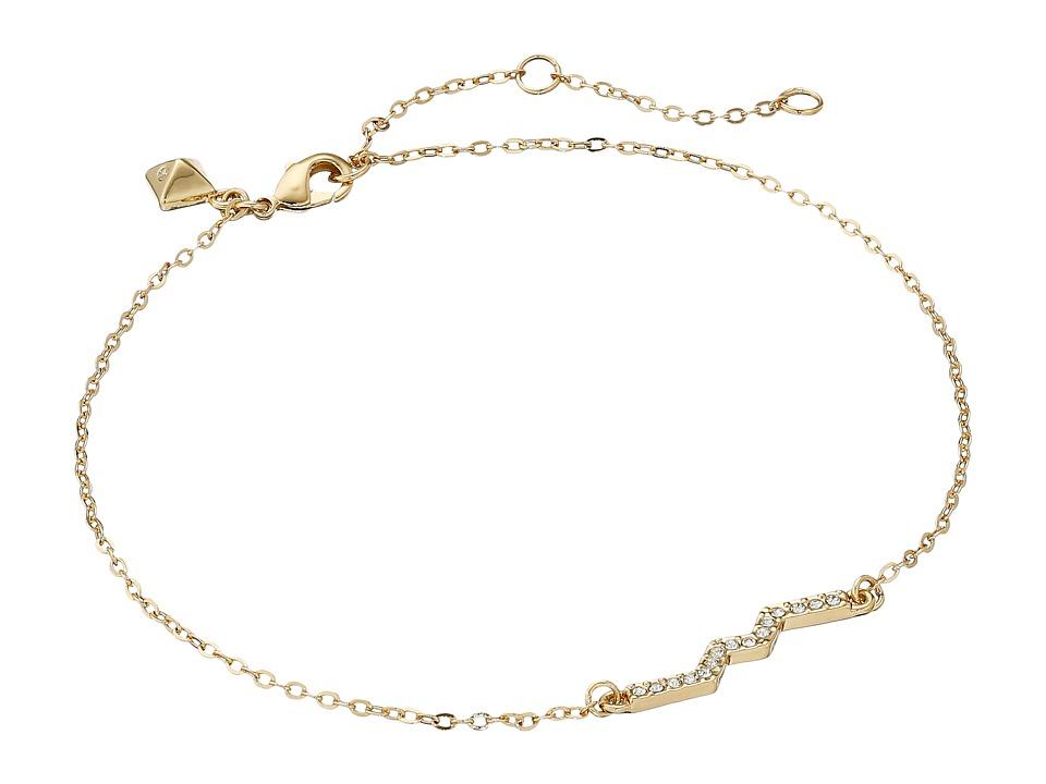 Rebecca Minkoff - Zigzag Anklet (12K Gold/Crystal) Bracelet