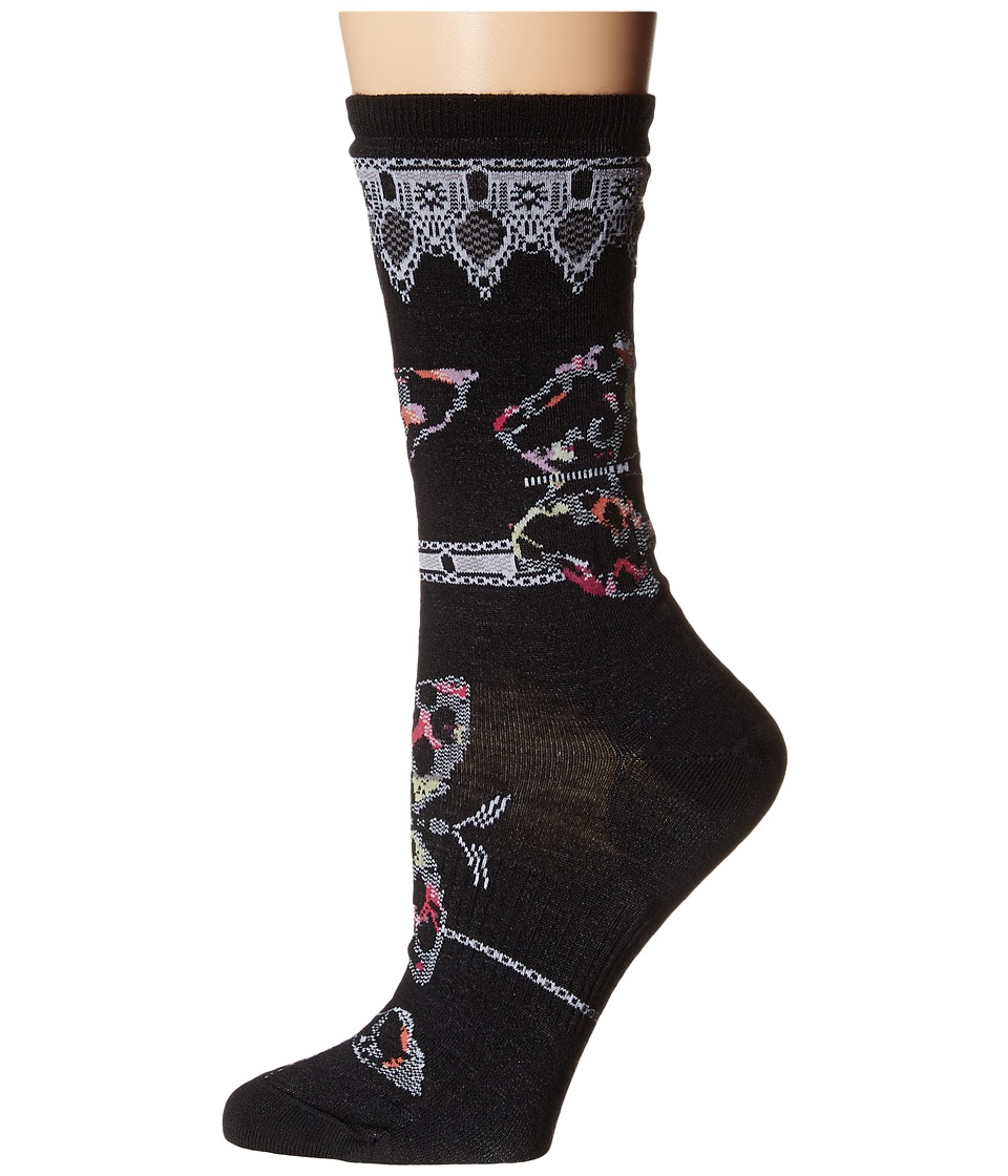 Smartwool - Butterfly Bitty Crew (Black) Women's Crew Cut Socks Shoes