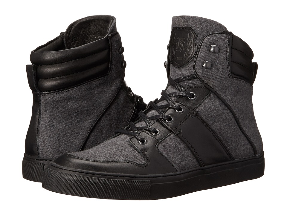 The Kooples Sport Leather and Flannel Sneaker (Grey) Men