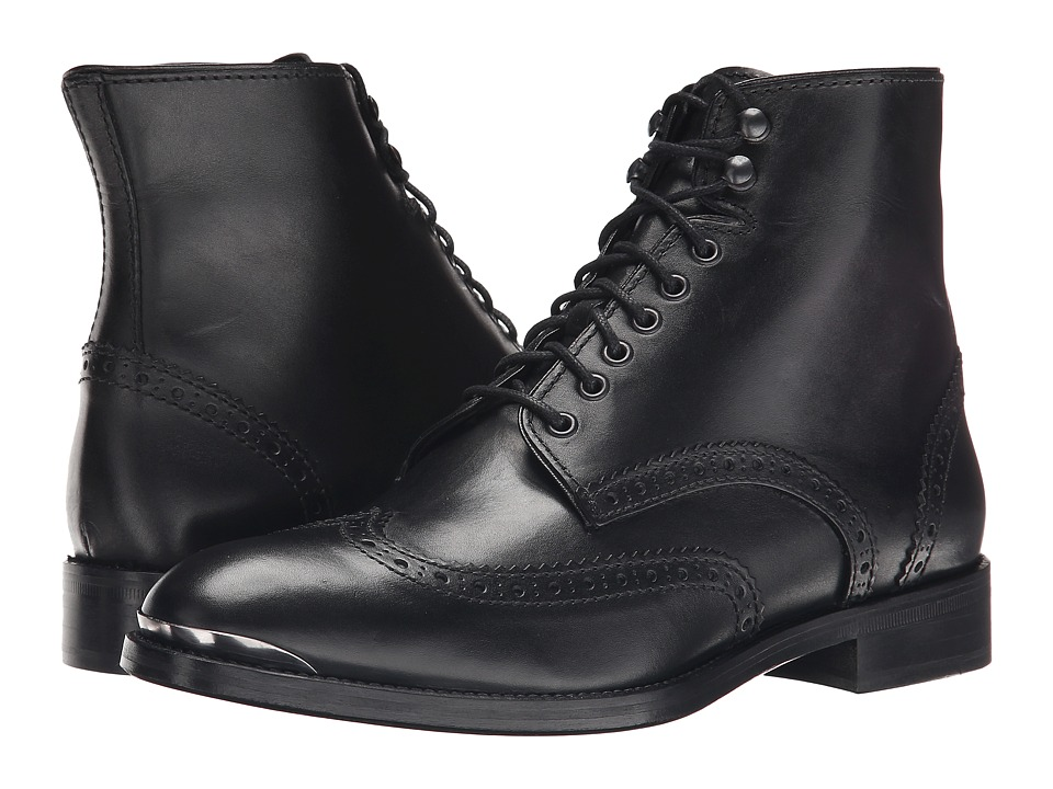 The Kooples Smooth Leather Military Boot (Black) Men