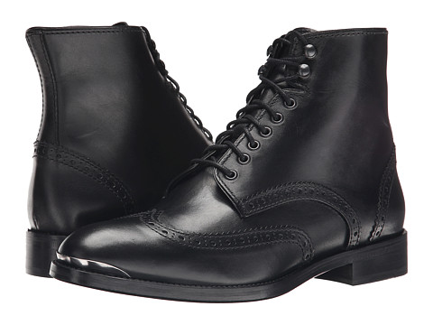 The Kooples - Smooth Leather Military Boot (Black) Men's Boots