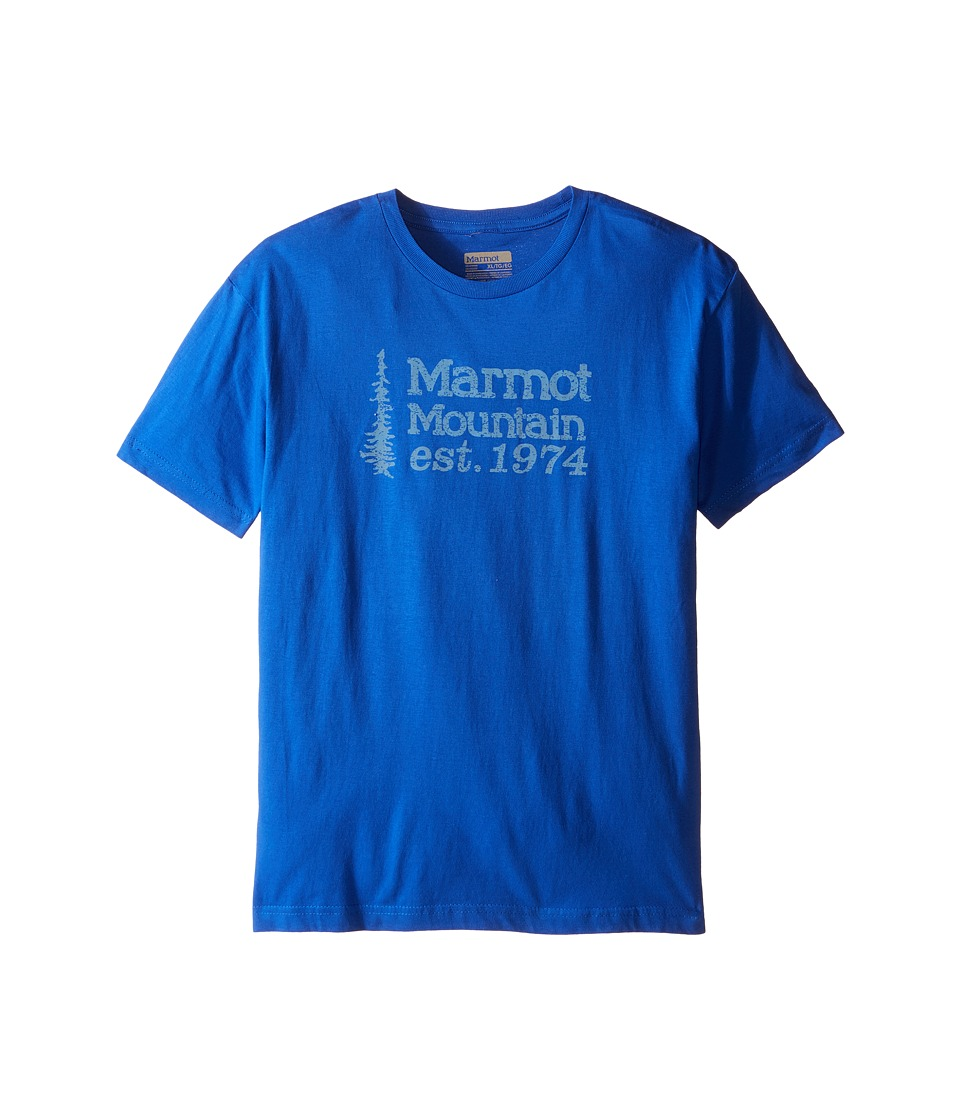 Marmot Kids 74 Tee Short Sleeve (Little Kids/Big Kids) (Royal) Boy