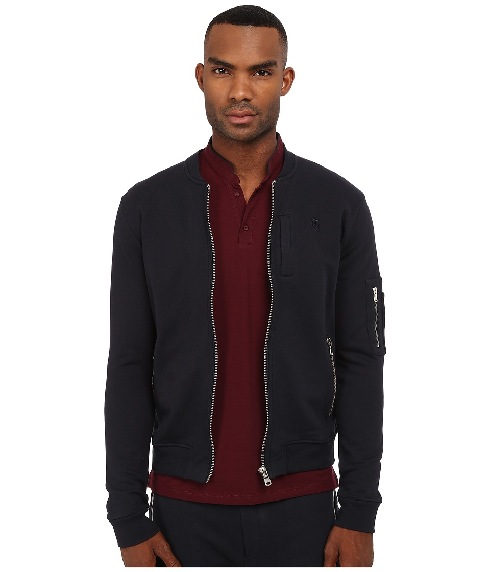 The Kooples - Sport Classic Fleece Bomber Jacket (Navy) Men's Coat