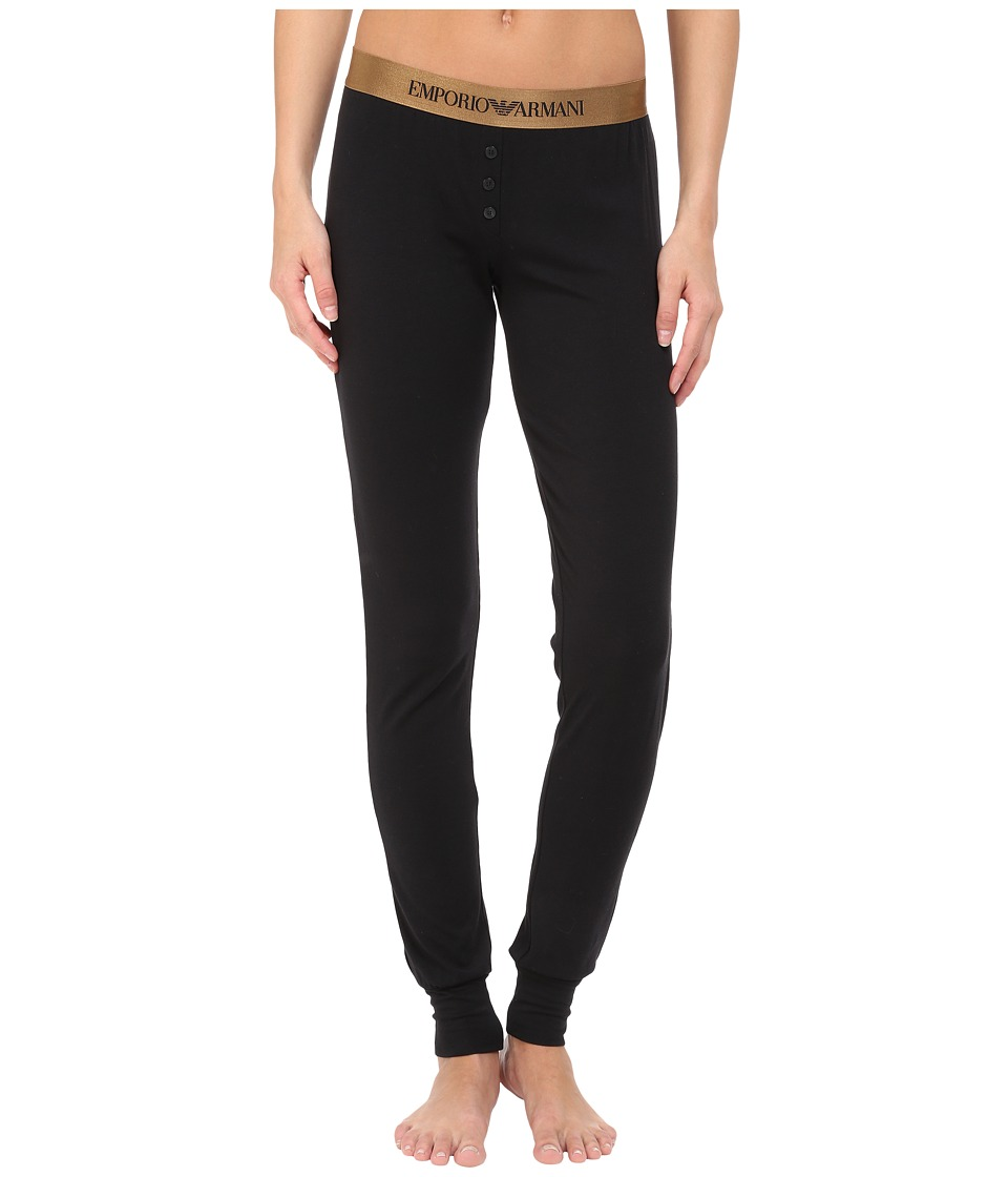 Emporio Armani - Visibility Cotton Modal Reg Fit Pants (Black) Women's Casual Pants