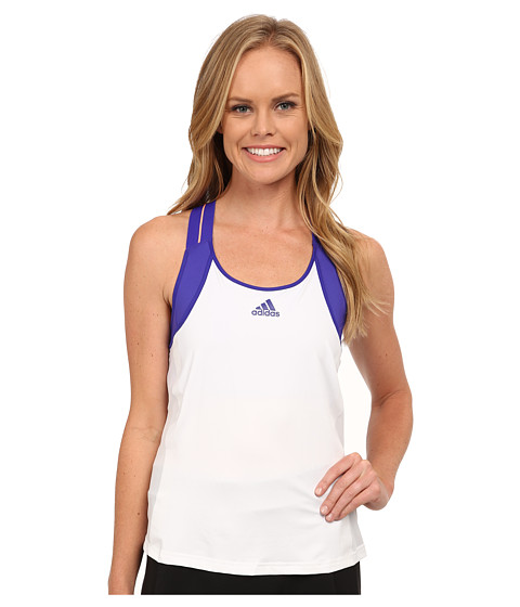 adidas - Adizero Tank Top (White/Night Flash Purple) Women's Sleeveless