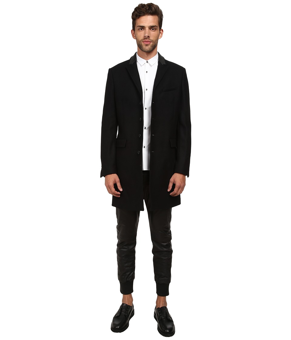 The Kooples - Soft Wool Mac (Black) Men's Jacket