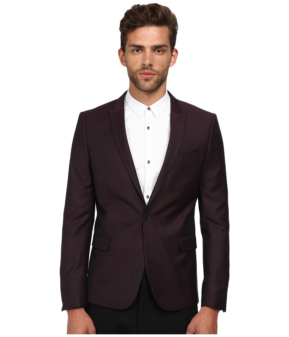 The Kooples - Iridescent Suit Jacket (Burgundy) Men's Jacket