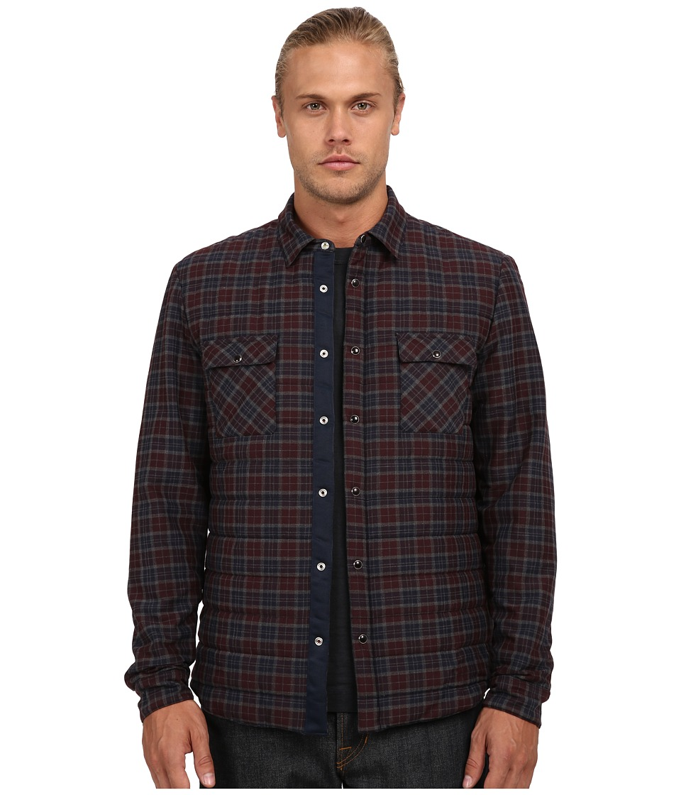 The Kooples - Sport Hunter Checks Shirt Jacket (Burgundy) Men's Coat