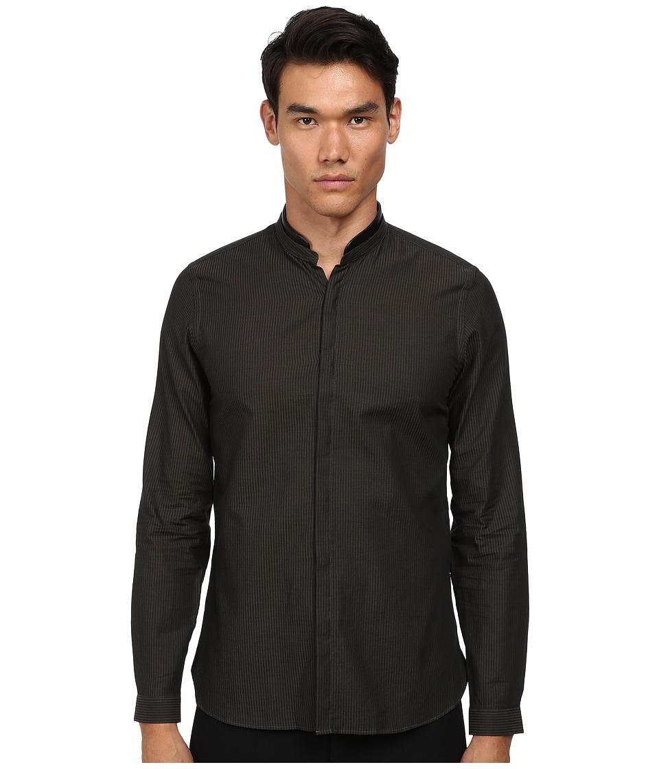 The Kooples - Stones Stripes Shirt with Leather Collar (Olive/Black) Men's Long Sleeve Button Up