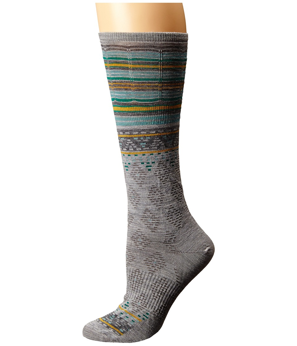 Smartwool - Rocking Rhombus Mid Calf (Light Gray Heather) Women's Crew Cut Socks Shoes