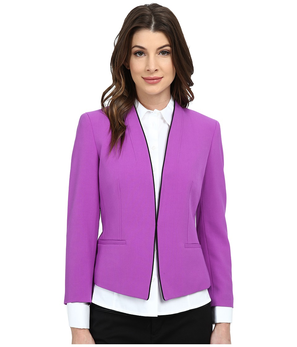 Nine West - Bi Stretch Kiss Front Collarless Piped Jacket (Pansy/Black) Women's Jacket