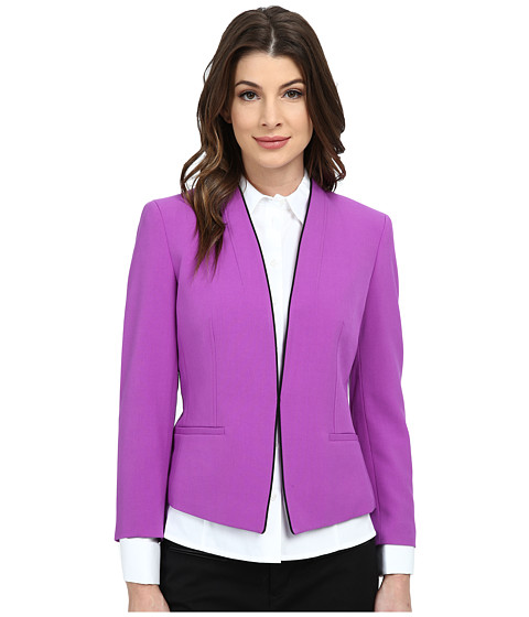 Nine West - Bi Stretch Kiss Front Collarless Piped Jacket (Pansy/Black) Women