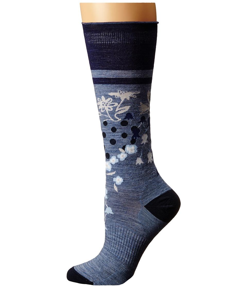 Smartwool - Everlasting Eden Mid Calf (Blue Steel Heather) Women's Crew Cut Socks Shoes