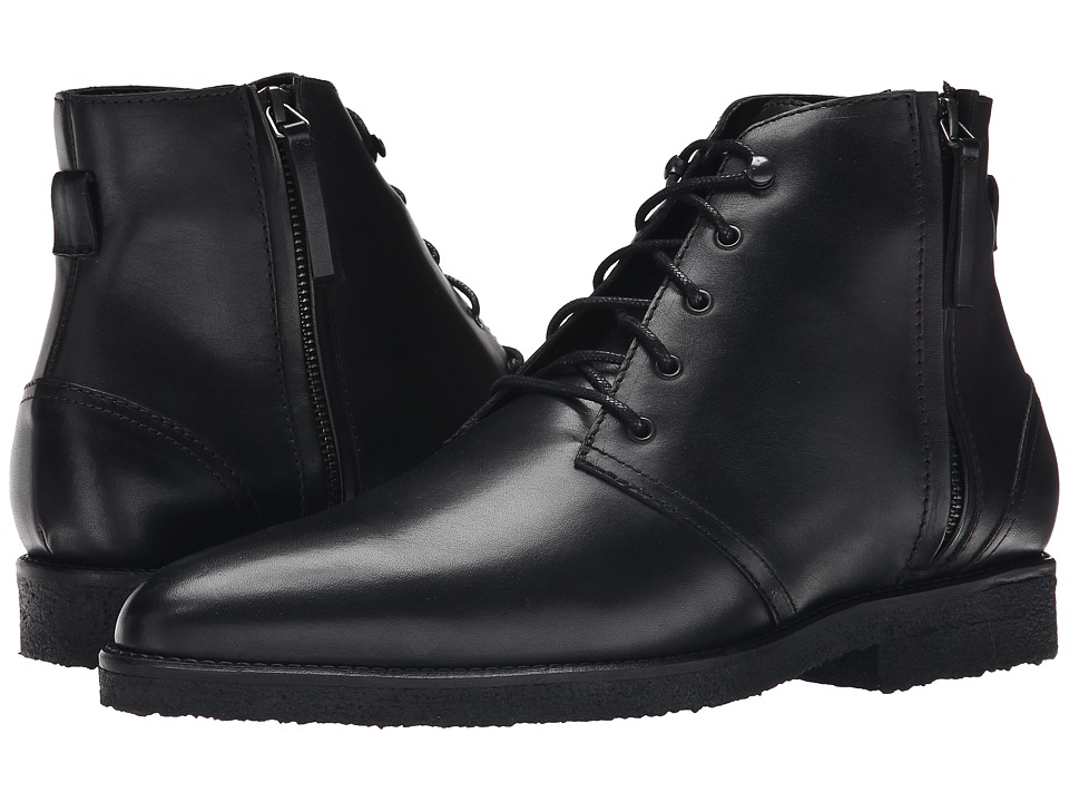 The Kooples Smooth Leather Zip Boot (Black) Men