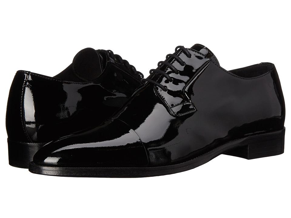 The Kooples - Patent Leather Cap Toe Oxford (Black) Men's Lace Up Cap Toe Shoes