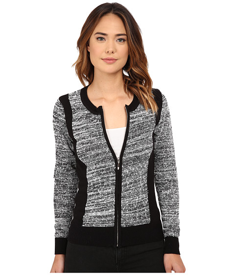 Olive & Oak - Zip Front Sweater Cardi (Black/White) Women's Sweater