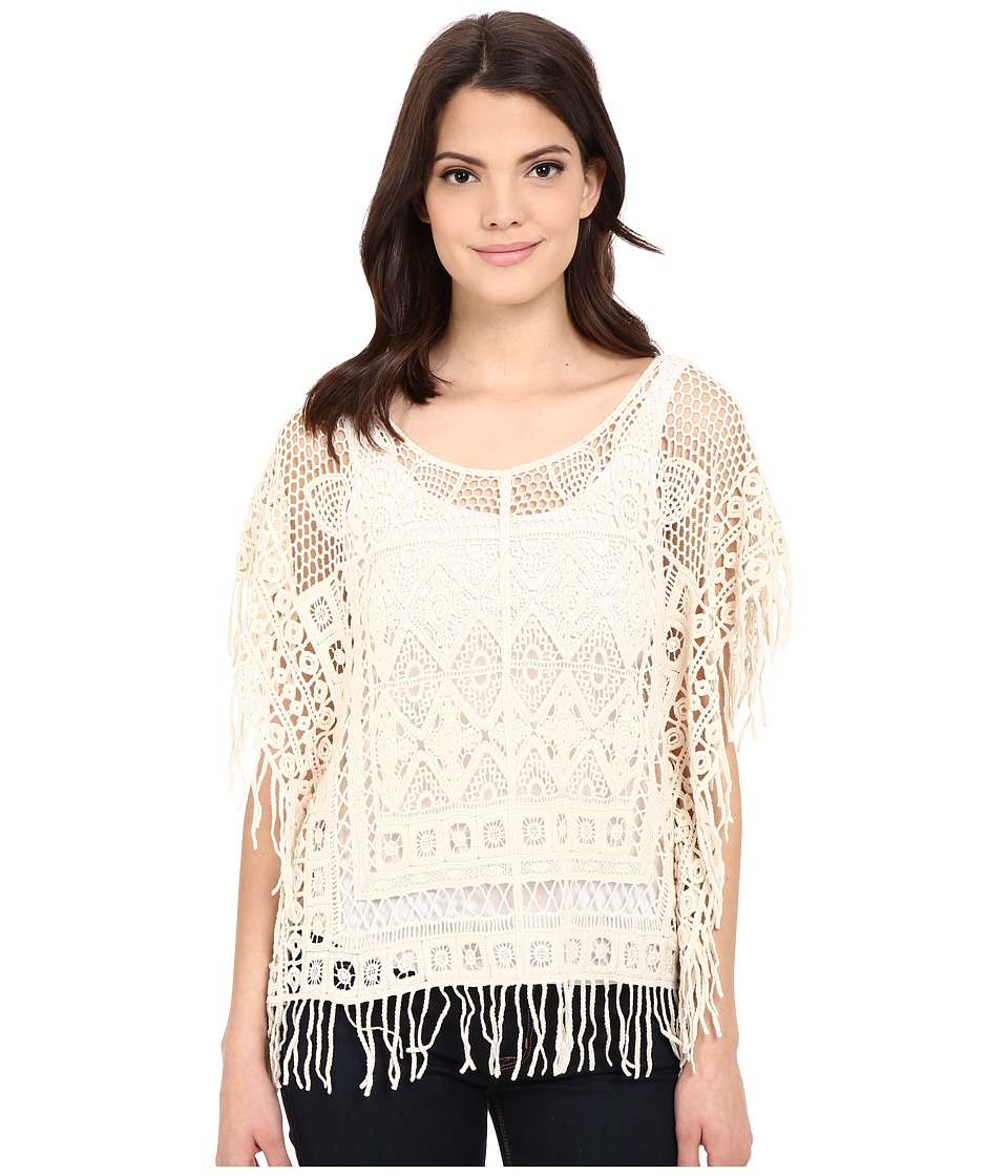 Roper - 0336 Crochet Lace Poncho (White) Women's Clothing