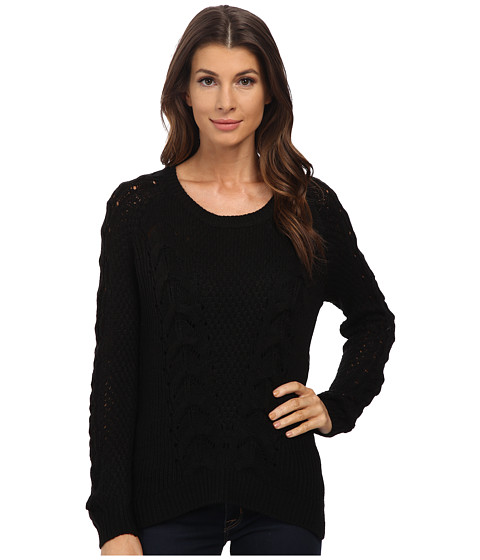 Pink Rose - Long Sleeve Scoop Neck Cable Sweater Top (Black) Women's Sweater