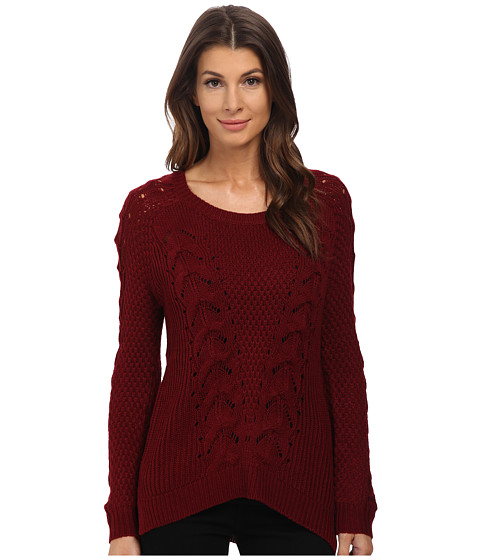 Pink Rose - Long Sleeve Scoop Neck Cable Sweater Top (Cranberry Spice) Women's Sweater