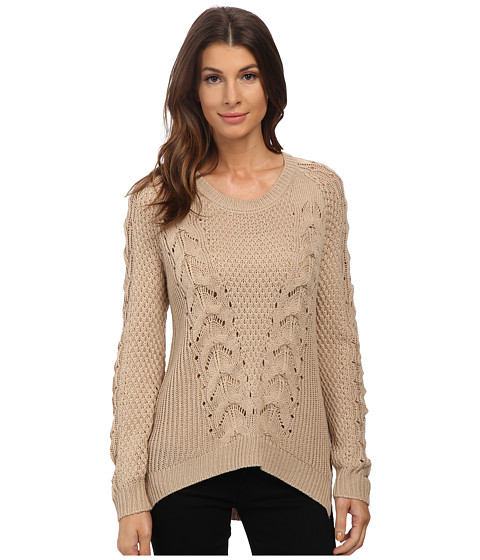 Pink Rose - Long Sleeve Scoop Neck Cable Sweater Top (Vanilla Almond) Women's Sweater