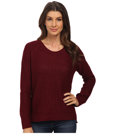 Pink Rose - Long Sleeve Raglan Sweater Top (Brandy Wine) Women's Sweater