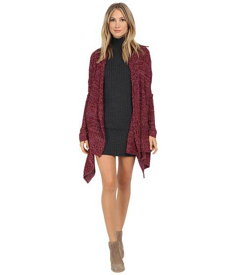 Pink Rose - Long Sleeve Marled Flyaway Sweater Cardigan (Marled Berry) Women