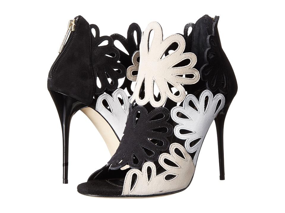 Oscar de la Renta - Jeralina 100mm (Beige/Black/White Suede) Women's Boots