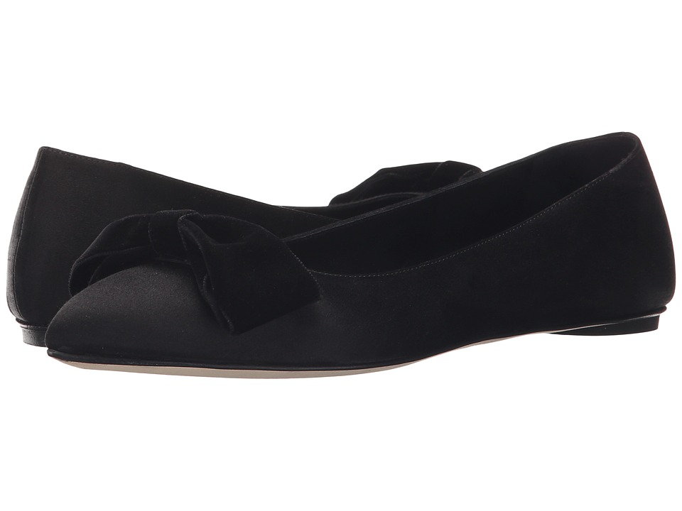 Oscar de la Renta - Juju 5mm (Black Satin) Women's Flat Shoes