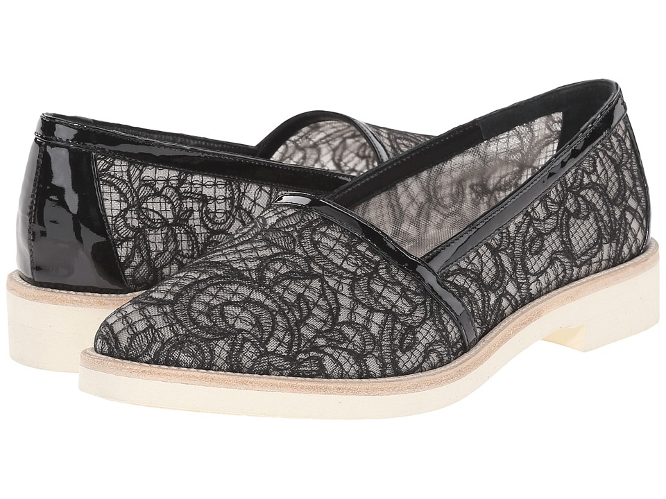 Oscar de la Renta - Jorgina 10mm (Black Lace/Patent Leather) Women's Slip on Shoes