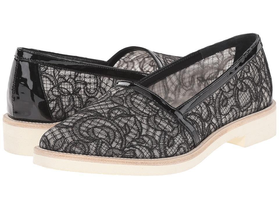 Oscar de la Renta - Jorgina 10mm (Black Lace/Patent Leather) Women's Slip on Shoes