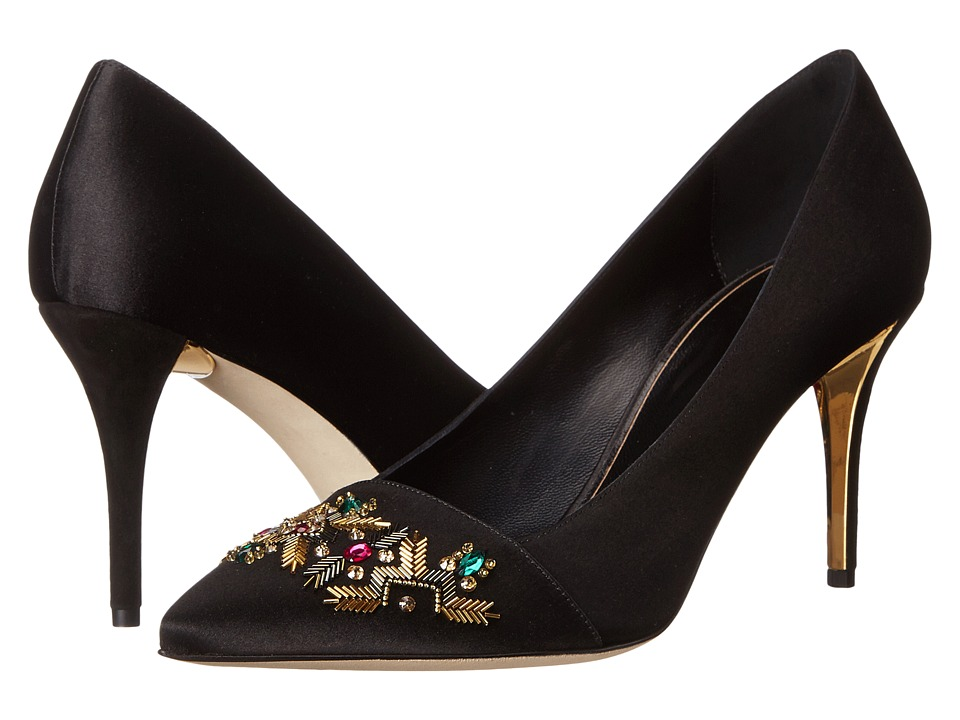 Oscar de la Renta Debi 85mm (Black Satin/Suede) High Heels