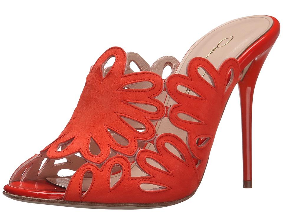 Oscar de la Renta Jelia 100mm Persimmon Suede-Patent Leather Womens Clog-Mule Shoes