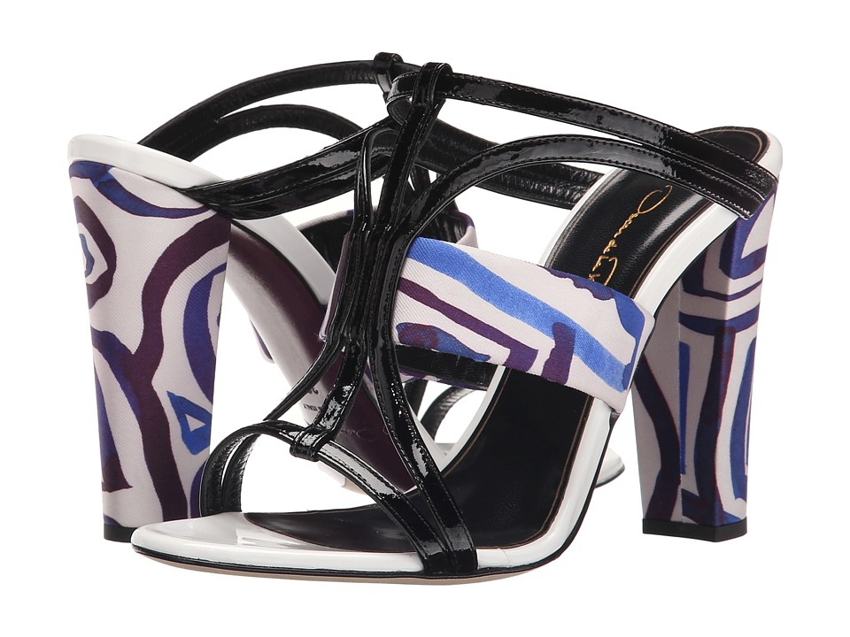 Oscar de la Renta - Lonni 100mm (Marine Mikado/Black/White Patent Leather) High Heels