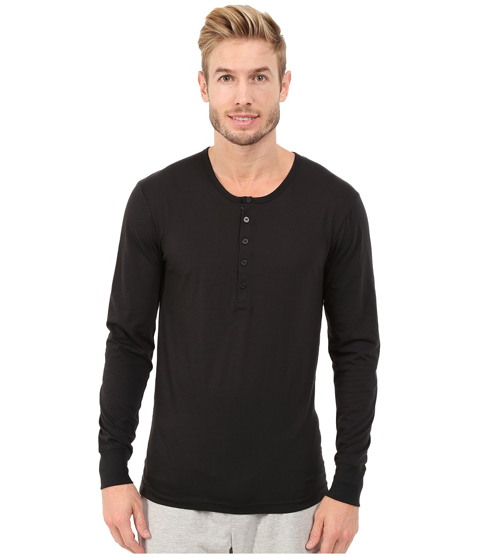 2(X)IST - Tartan Tech Long Sleeve Henley (Black) Men's Clothing
