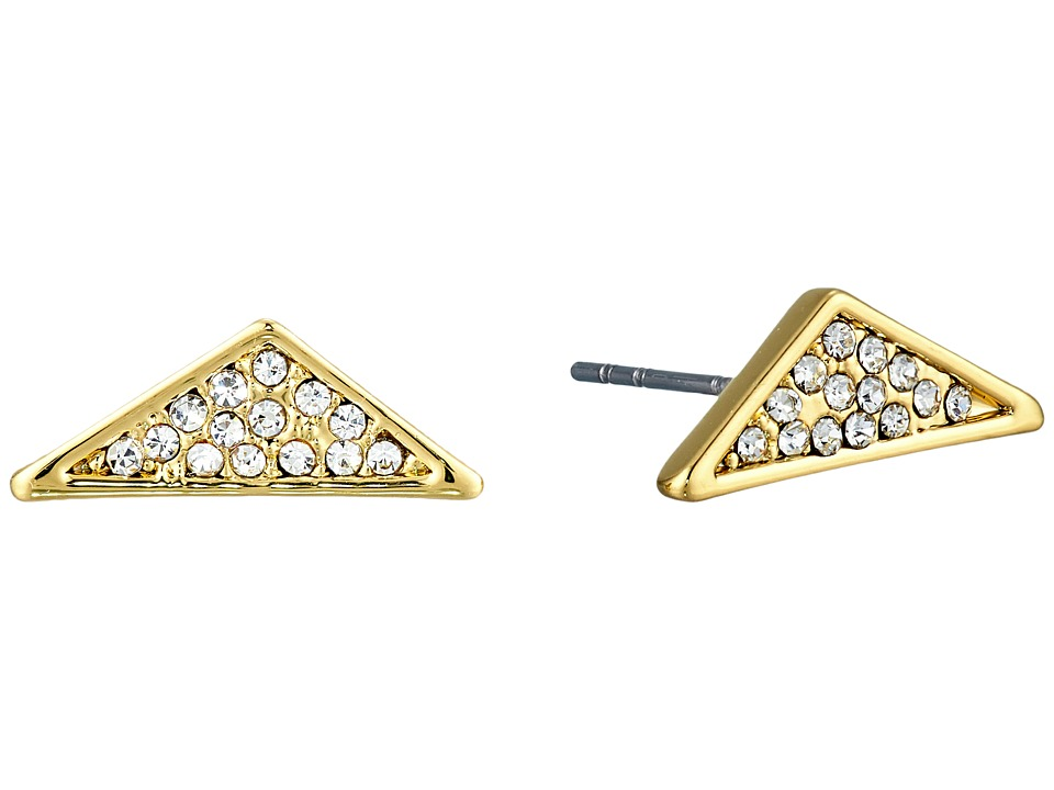 Rebecca Minkoff - Crystal Pave Triangle Earrings (Gold/Crystal) Earring