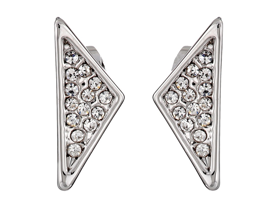 Rebecca Minkoff - Crystal Pave Triangle Earrings (Rhodium/Crystal) Earring