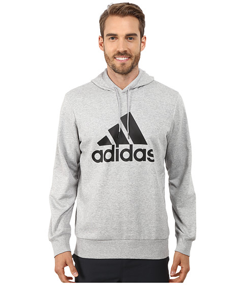 adidas - Logo Hoodie (Medium Grey Heather/Black) Men's Sweatshirt