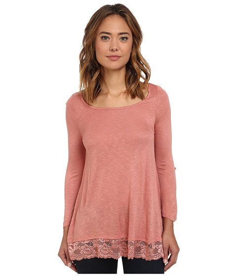 Pink Rose - Long Sleeve Lace Trim Knit Top (Desert Rose) Women's Clothing