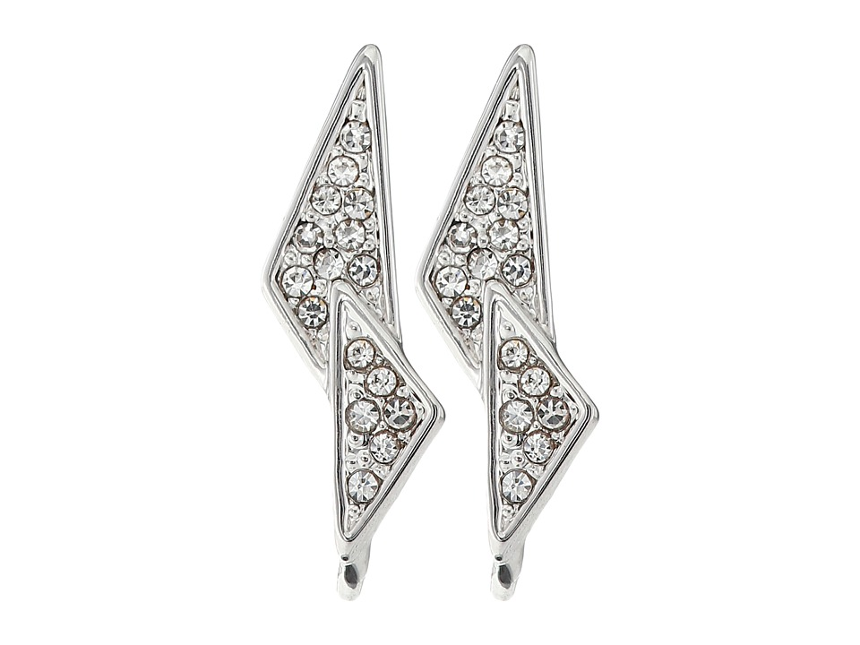 Rebecca Minkoff - Crystal Pave Double Triangle Earrings (Rhodium/Crystal) Earring